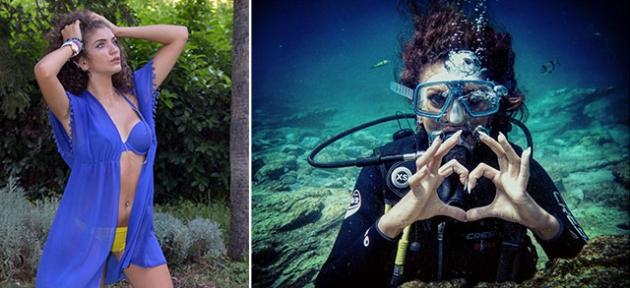 Genç modelin deniz tutkusu