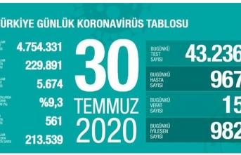 Türkiye'de can kaybı 5 bin 674