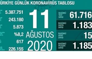 Türkiye'de toplam vaka 243 bin 180