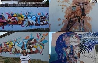 Lefke'de duvarlara yapılan üç boyutlu resimler...