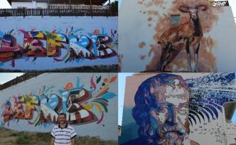 Lefke'de duvarlara yapılan üç boyutlu resimler dikkat çekiyor