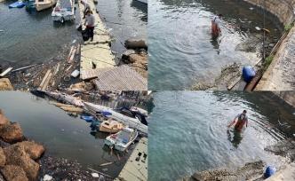 Antik Limanda su yüzünde bulunan birçok atığı topladı, vatandaşlara duyarlılık çağrısı yaptı