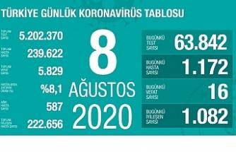 Türkiye'de 24 saatte bin 172 yeni vaka