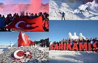 Sarıkamış Harekâtı'nın 106'ncı anma etkinlikleri kapsamında şehit askerlerin kardan heykelleri yapıldı