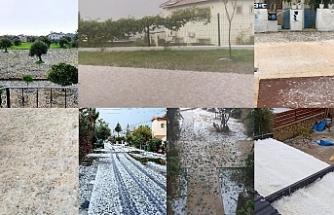 Girne'ye dolu yağdı