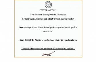 Turizm emekçileri Girne'de eylem düzenliyor