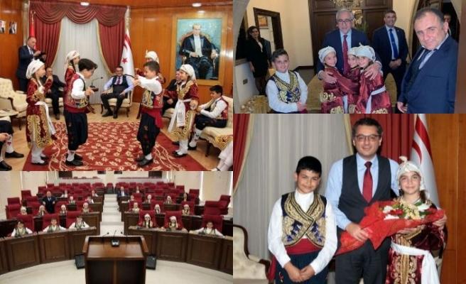 TRT 23 Nisan Çocuk Festivali'nde KKTC'yi temsil edecek olan öğrenciler, öğretmenleri ile birlikte devlet büyüklerini ziyaret etti