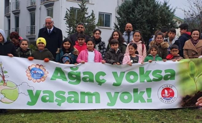 Girne Belediyesi Çocuk Meclisi üyeleri, orman yaratmak için fidan dikti