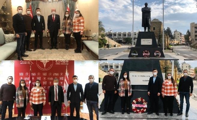 Kıbrıs Paramedik Derneği Cumhurbaşkanı Tatar ve Sağlık Bakanı Pilli'yi ziyaret etti