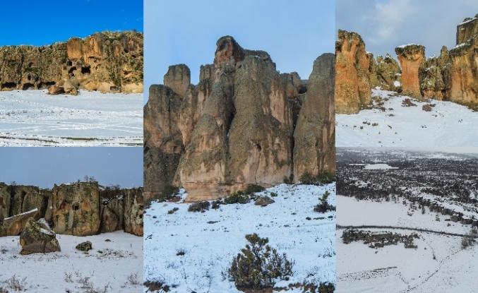 Frig Vadisi çevresinde kar yağışı sonrası etkileyici manzaralar oluştu